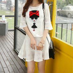 faldas blancas conjuntos de ropa para adolescente de moda :)