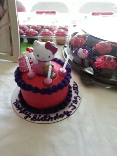 Hello kitty cupcakes & cake done by Walmart