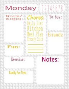 Daily plan printables