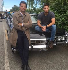 Misha Collins and Jensen Ackles on the Supernatural sason 12 set.