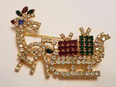 Vintage Reindeer pulling sleigh with presents rhinestone Brooch
