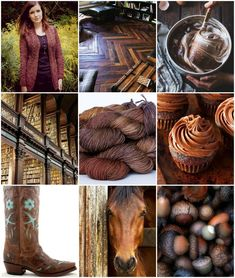 Sources, left to right, top top to bottom:Knittedbliss' French Braid Cardigan,Herringbone floors, Chocolate Chestnut Cream Cake Batter,Library, TFA Green Label Aran Weight in Chestnut, Cupcakes,Cowboy Boot,Horse,Acorns,