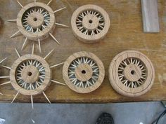 Toy Construction Making a spoked wheel Wooden Toy Wheels, Wooden Toy Trucks, Wooden Wheel, Wooden Car, Woodworking Joints, Woodworking Plans, Woodworking Projects, Wooden Projects, Wood Crafts