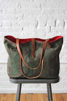 WWII era Swiss Camo Tote Bag | Sturdy, worn-in camouflage salvaged from a WWII era Swiss military tarp has been turned into a perfect everyday carryall.
