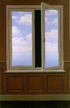 The Looking Glass(La Lunette d'approche) 1963.  Is this really the outside world I'm seeing or the never ending void set before me?  I think the artist wanted his message to be that the world is a lot more vast then we will ever be able to visualize.