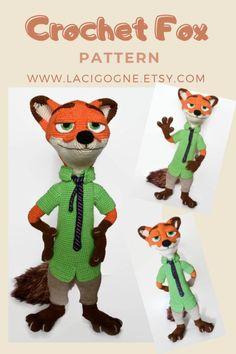 Diy Crochet Animals, Crochet Animal Amigurumi, Crochet Fox, Amigurumi Toys, Crochet Gifts, Cute Crochet, Stuffed Animal Patterns, Diy Stuffed Animals, Crochet Toys Patterns