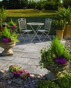 Ashbourne Weathered grey Paving set Pack of 48 - B&Q for all your home and garden supplies and advice on all the latest DIY trends Grey Paving, Concrete Paving, Terrace Garden, Garden Spaces, Patio Slabs, Garden Features, Outdoor Furniture Sets, Outdoor Decor, Rustic Feel