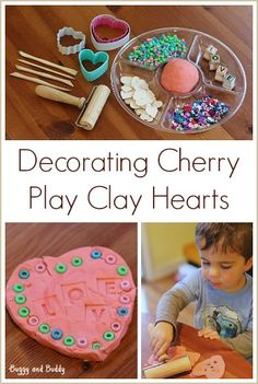 Sensory Play for Valentine's Day: Decorating Cherry Play Clay Hearts~ Buggy and Buddy