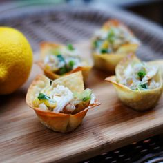 Crab Salad in Easy Baked Wonton Cups