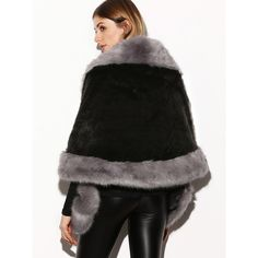 SheIn(sheinside) Color Block Faux Fur Poncho Coat (£52) ❤ liked on Polyvore featuring outerwear, coats, faux fur coat, color block coat, poncho coat, short faux fur coat and short coat