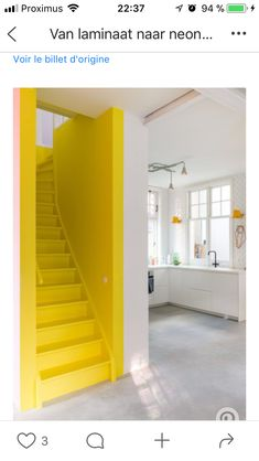 30 + Unique Stairs For Interior Home Design - Home Decor Yellow Stairs, Yellow Walls, Stairs Colours, Painted Staircases, Yellow Interior, Scandinavian Home, Color Of The Year, House Colors, Interior Inspiration
