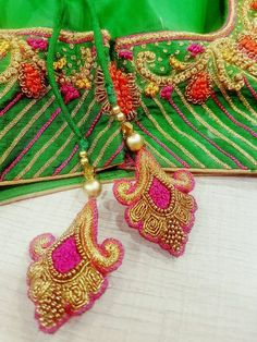 Saree Tassels Designs, Saree Kuchu Designs, Silk Saree Blouse Designs, Bridal Blouse Designs, Embroidery Designs, Hand Embroidery, Embroidery Stitches, Designer Blouse Patterns, Dress Neck Designs