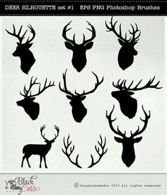 Deer Head Silhouettes – Reindeer – Antlers Clipart – Deer Clip Art – vector EPS PNG and Photohshop Brushes- deer cliparts- deer silhouettes - Diy Best Tattoo ideas Hirsch Silhouette, Deer Head Silhouette, Reindeer Silhouette, Cervo Tattoo, Hirsch Tattoo, Illustrator, Silhouettes, Reindeer Antlers, Silhouette Projects