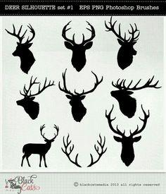 Deer Head Silhouettes – Reindeer – Antlers Clipart – Deer Clip Art – vector EPS PNG and Photohshop Brushes- deer cliparts- deer silhouettes - Diy Best Tattoo ideas Hirsch Silhouette, Deer Head Silhouette, Reindeer Silhouette, Cervo Tattoo, Hirsch Tattoo, Illustrator, Silhouettes, Reindeer Antlers, Clip Art