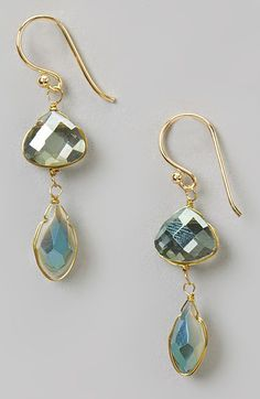 Green & White Double Crystal Drop Earring