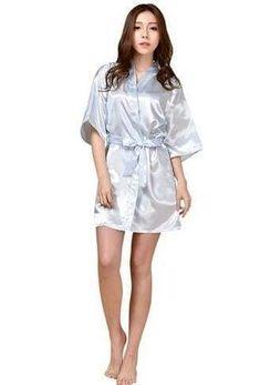 a4f7a7ffb Women Silk Satin Short Night Robe Solid Kimono Robe Fashion Bath Robe Sexy  Bathrobe Peignoir Femme Wedding Bride Bridesmaid Robe
