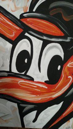 """Baltimore Orioles """"Oriole Bird"""" vintage logo OOAK Abstract Art Original OPACY…"""