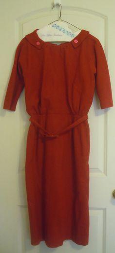 Vintage Cherry Red Wool Dress Dan Keller Mad by TallulahsVintage