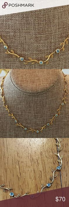 Blue Topaz necklace,18k gold vermeil/ sterling sil Stunning 18k gold vermeil over solid sterling silver with blue topaz.  A one of a kind piece with gold branches and blue topaz.. introductory price! Jewelry Necklaces