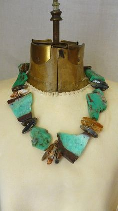 Organic Design Turquoise green and velvety brown slabs necklace.