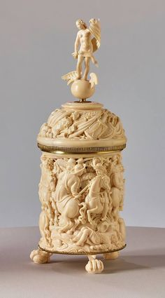 Elias Adam, Beaker and cover depicting the death of the Swedish King Gustav Adolf in the Battle of Lützen Augsburg, circa Beer Company, Beautiful Things, Sculptures, Carving, Antiques, Ivory, Breakfast Nook, Art, Old Stuff