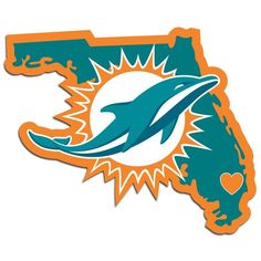 It's a home state decal with a sporty twist! This Miami Dolphins decal feature the team logo over a silhouette of the state in team colors and a heart marking the home of the team. The decal is approximately 5 inches on repositionable vinyl. Dolphin Quotes, Miami Dolphins Logo, Nfl Logo, Team Logo, Nfl Football, Football Memes, American Football, Football Crafts, Football Season