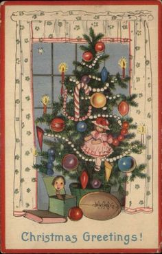 Christmas – Football Under Decorated Tree c1915 Postcard