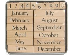 Months of the Year Wood Stamp Kit ... for rotating calendar dates?