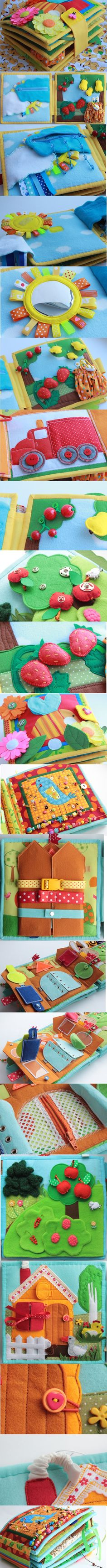 Quiet Book - Inspiration only Diy Quiet Books, Baby Quiet Book, Felt Quiet Books, Baby Crafts, Felt Crafts, Diy And Crafts, Sensory Book, Fidget Quilt, Quiet Book Patterns