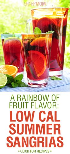 A Rainbow of Fruit Flavor: Low Cal Summer Sangrias! ohhhh i love sangria Party Drinks, Cocktail Drinks, Fun Drinks, Alcoholic Drinks, Cocktails, Beverages, Healthy Drinks, Healthy Tips, Healthy Eating