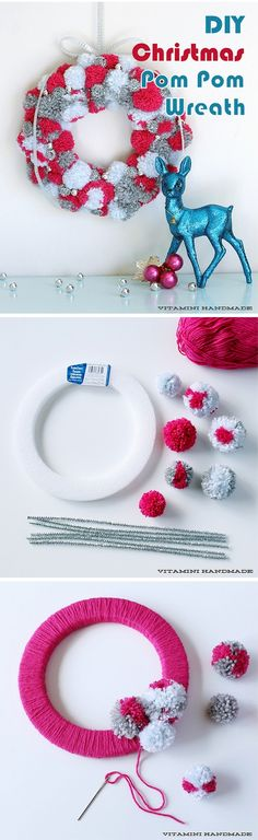 Check out this easy idea on how to make a #DIY #Christmas pom pom wreath #homedecor #crafts #project @istandarddesign