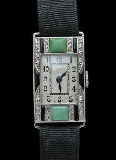 This is not contemporary - image from a gallery of vintage and/or antique objects. ART DECO  Watch  Platinum Jade Onyx Diamond