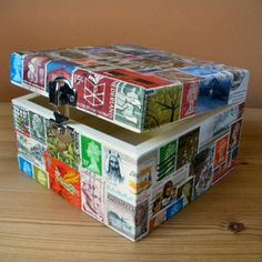 Box decorated with stamps, other stamp reuse ideas on the site