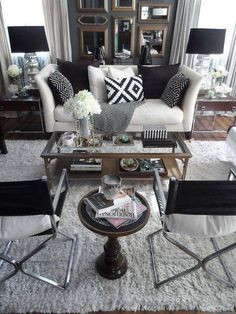 A Black and white combo is great way to bring a modern feel to your living room.