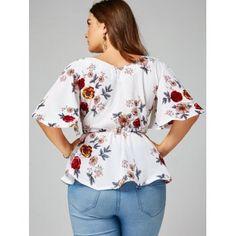 Floral Plus Size Belted Surplice Peplum Blouse - WHITE 2XL