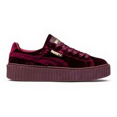 FENTY PUMA BY RIHANNA Velvet Creepers ❤ liked on Polyvore featuring shoes, sneakers, velvet shoes, creeper shoes, puma creeper, black creeper shoes and black velvet shoes
