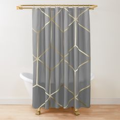 Gold Shower Curtain, Gray Shower Curtains, Grey Curtains, Grey And Gold, Green And Grey, Gatsby Style, Gold Bathroom, Cubes, Printed
