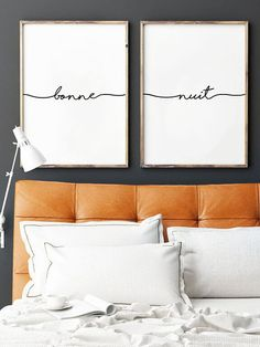 Bonne Nuit Print Set of 2 Prints Bedroom Wall Decor by printabold