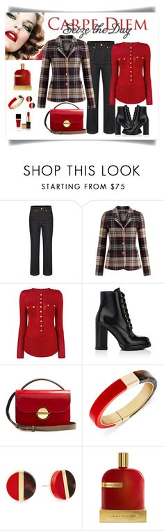 """""""Armani Jeans Check Tweed Blazer Look"""" by romaboots-1 ❤ liked on Polyvore featuring Armani Jeans, Balmain, Prada, Marni, Michael Kors, AMOUAGE and Tom Ford"""