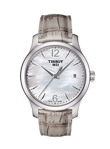 Buy Tissot Women's Tradition Date Leather Strap Watch, Grey/Mother of Pearl from our Women's Watches range at John Lewis & Partners. Swiss Luxury Watches, Luxury Watches For Men, Unique Watches, Ladies Bracelet Watch, Mother Of Pearl Jewelry, Grey Watch, Grey Leather, Quartz Watch, Traditional