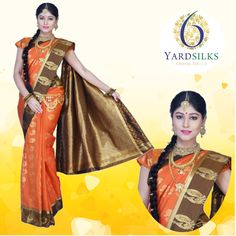 Portland Orange and Copper Brown Art Silk Hand woven Wedding Saree #fashion #style http://www.sareez.com/6yards-silks.html