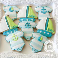 """155 Likes, 6 Comments - The Sugar Jar (@thesugarjar1) on Instagram: """"Nautical baby #decoratedcookies #decoratedsugarcookies #sugarcookies #cookies #customcookies #baby"""""""