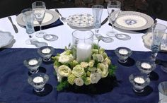 flower wreath around candle vase Table Centerpieces, Centrepieces, Table Settings, Vase, Wreaths, Candles, Floral, Flowers, Inspiration