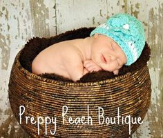 Crochet Baby Hat Baby Girl Hat Photography Prop by preppypeach, $17.95