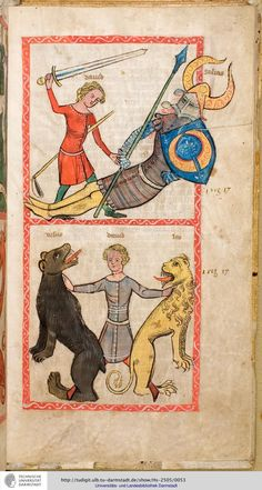 Apparently, in the Middle Ages it was not enough for David to kill Goliath. He also had to strangle a lion and a bear with his bare hands to be believable as a king.