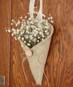Khaki burlap pew cone with reclaimed wood button by NutfieldWeaver, $12.00