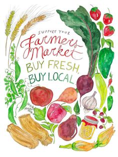 Show your support and love of farmers markets!   The print is a 9x12 or 13x19 digital reproduction of an original watercolor + pen and ink illustration. It is printed on 100lb EcoSilk Archival Paper with soy-based inks and individually signed by the artist. The 9x12 ships flat with white acid-free board in a plastic sleeve. The 13x19 ships rolled in a sturdy cardboard tube. Both sizes arrive frame-ready.   Check out all the 9x12 Food Art prints…