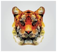 Geometric polygon tiger head triangle pattern design vector illustration