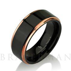 Black Tungsten Ring Rose Gold Wedding Band Ring by BravermanOren