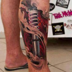 Biomechanics, 3D leg tattoo  - http://tattootodesign.com/biomechanics-3d-leg-tattoo/  |  #Tattoo, #Tattooed, #Tattoos